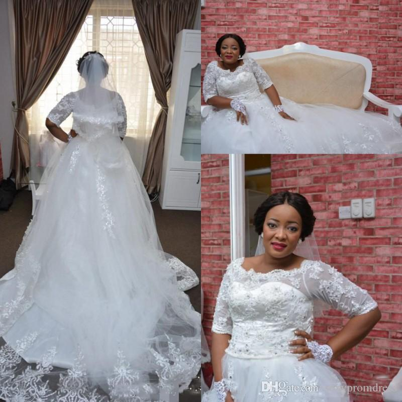 Discount Lace Plus Size Nigeria Wedding Dresses Sheer Half Long