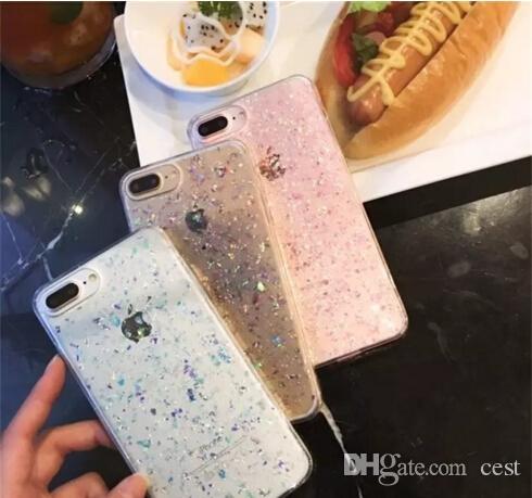 2017 Corée Style Bling Paillettes TPU Cas Pour TPU Paillettes Couverture Arrière Souple Corée Style Antichoc Protecteur Téléphone Shell Peau