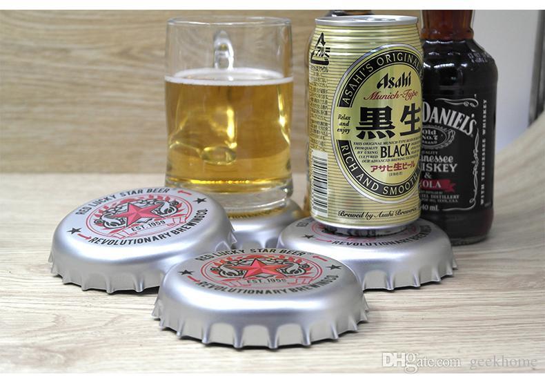 commercio all'ingrosso creativo 4 pz / set utensili da cucina tappo della bottiglia di birra disegno sottobicchiere bottiglia di birra tappo sottobicchieri tappetino da bagno isolamento pad diametro 11 cm