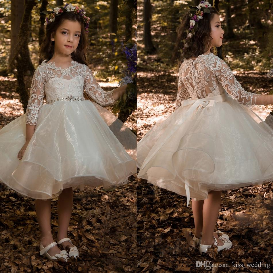 eaf8f5b147a High Quality Lace Organza Ivory Flower Girl Dress 3 4 Sleeves With Crystals  Sash Toddler Short Prom Dresses Girls Kids Birthday Gown Short Flower Girl  ...