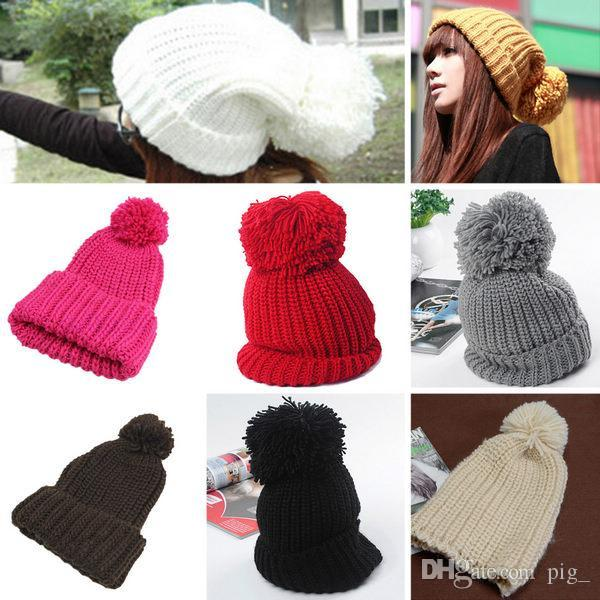 Unisex Women Winter Warm Ski Knitted Slouch Cuffed Bobble Pom Hat Beanie  Cap Beanie Cap Bobble Pom Hat Online with  5.57 Piece on Pig  s Store  c3dee0398471
