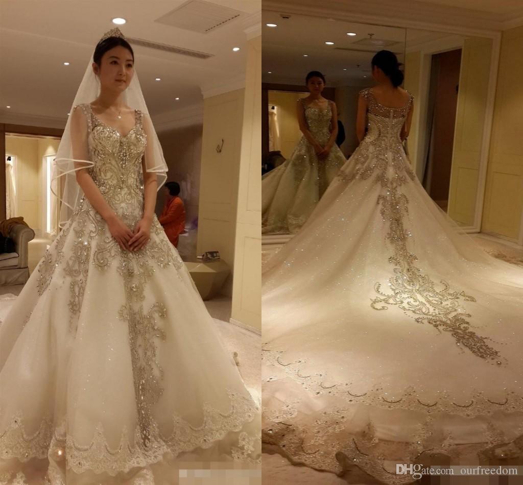 Luxury Cathedral Train Cinderella 2017 Ball Gowns Wedding