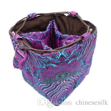 Wave Patterns Multi Grid Jewelry Gift Bag Drawstring Silk Brocade Square Bottom Packaging Beads Bracelet Necklace Tea Cup Storage Pouches