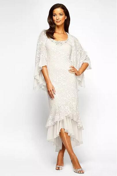 2017 Elegant Lace Mother Of The Bride Dresses Tea Length Vintage Shawl Back Tiered Sheath Mother Groom Dress Custom Made EN8157