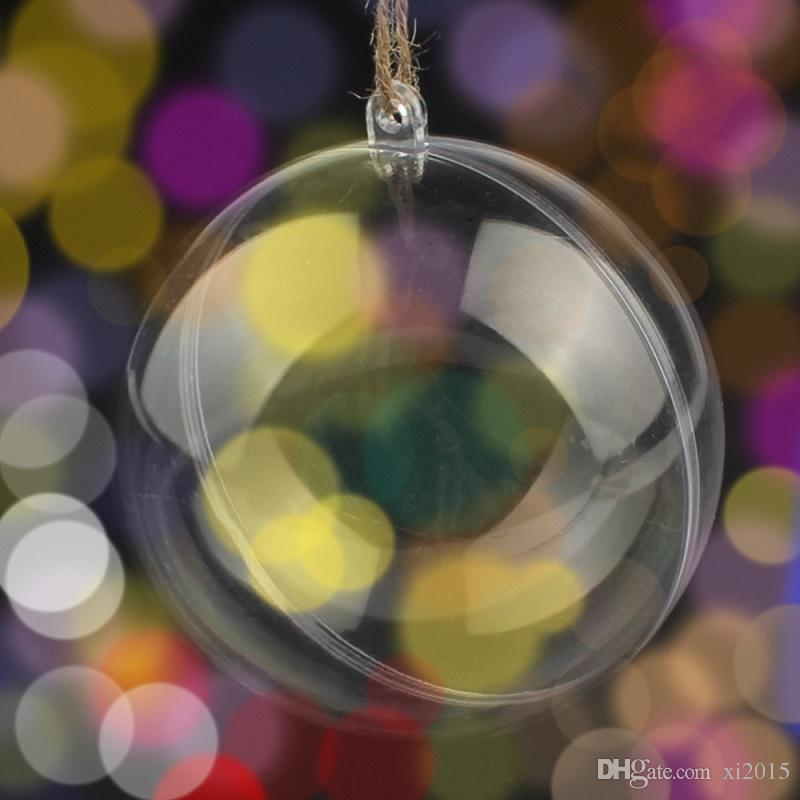 Transparent Fillable Decoration White Ball Clear Bauble Ornament Supply for Romantic Wedding Christmas tree 50mm/80mm wen4418