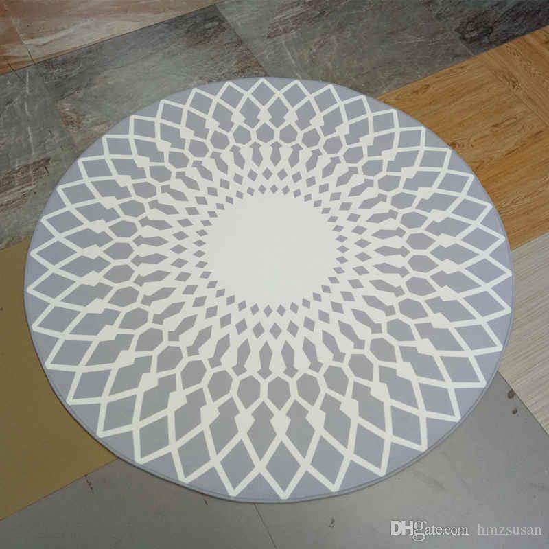 Acheter Tapis De Sol Moderne Gris Blanc Tapis Rond Salon Decoration