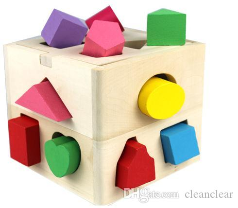 Geometry Digital Blocks 13 Hole Baby Intellectual Wooden Number House Building Kids Sharp Pair Educational Toy