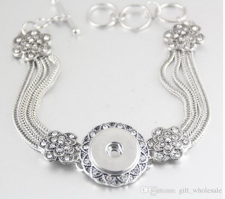 Нуса цветок форма Кристалл цепь браслет 18 мм Оснастки кнопка браслет Поппер браслет Белый K позолоченный браслет