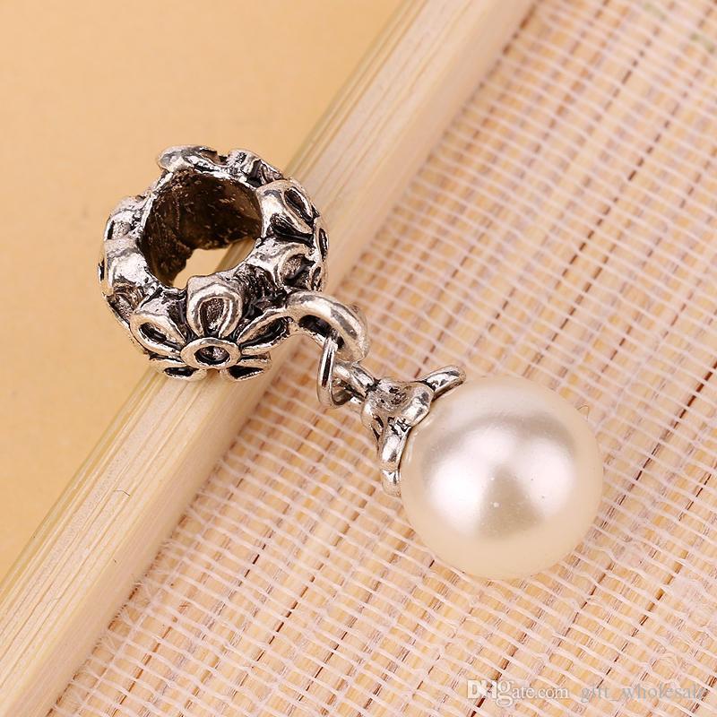 HOT SALE: Fake Pearl Pandora Alloy DIY Round Dangle Bead Pendant Fit Charm European Bracelet