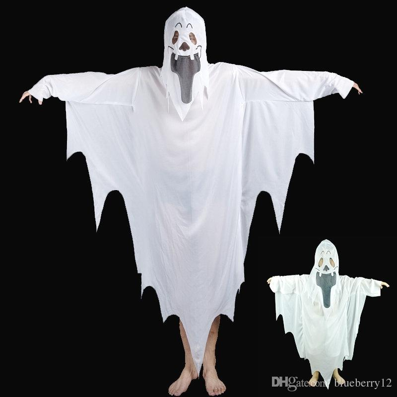 2017 New Hot Halloween Cosplay Party Ghost Unisex Suit Human White Pattern Costume Halloween Scare Performance Clothes Wear Suit Adults