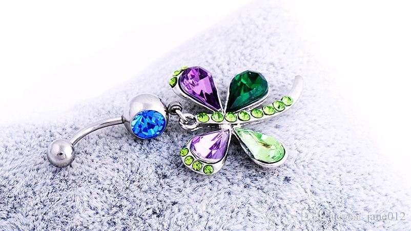 Piercing Body Jewelry Belly Button Rings Stainless Steel Austrian Crystal Dragonfly Colorful Mixed Navel Ring Fine Wholesale