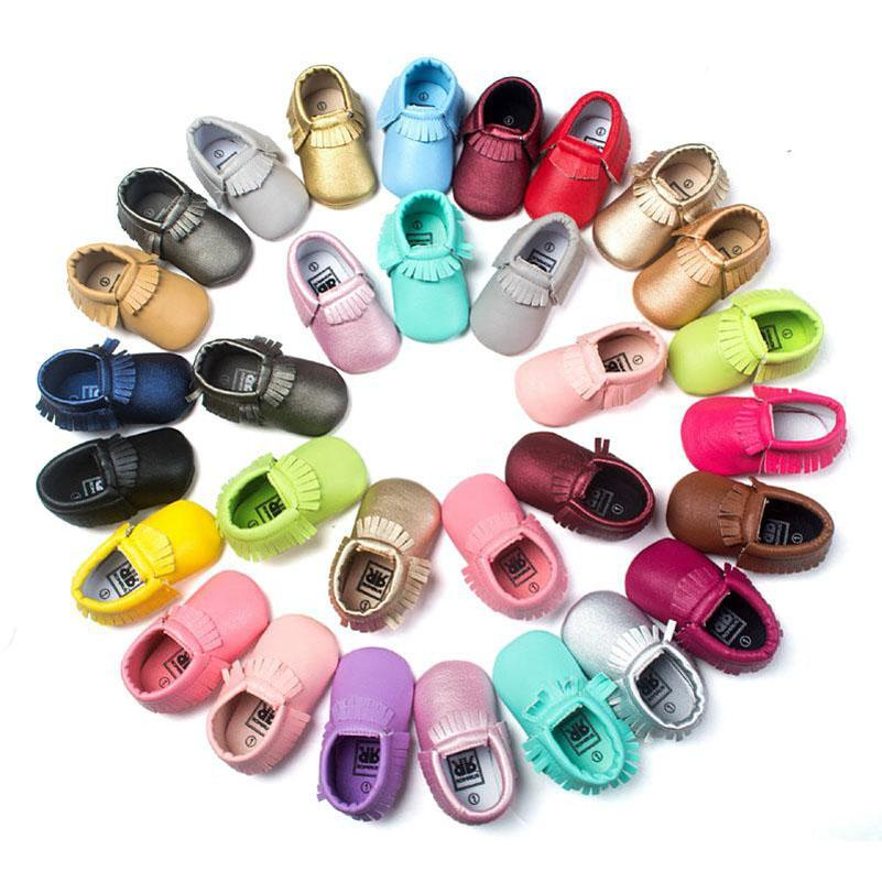 51 Color Baby moccasins soft sole PU leather first walker shoes baby newborn shoes Tassels maccasions toddler shoes B001