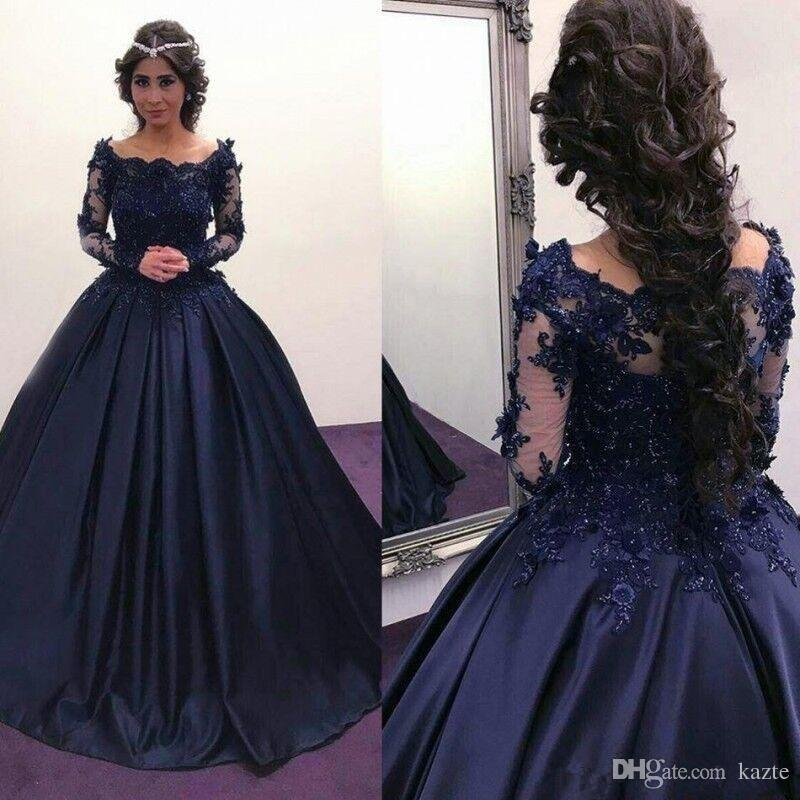Gorgeous Navy Blue Long Sleeve Ball Gown Prom Dresses 2017 Shiny ...