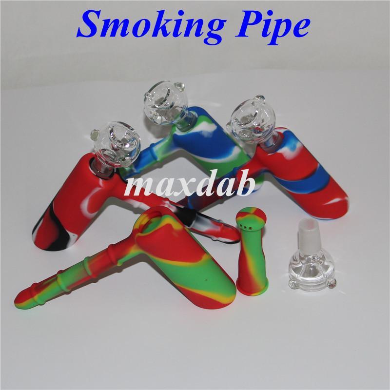 Portable Wax Mini Pipe di narghilè Bruciatore di petrolio Tubo di acqua Pipa di silicone Bong Pipa di vetro Tubo smussato nave libera da DHL