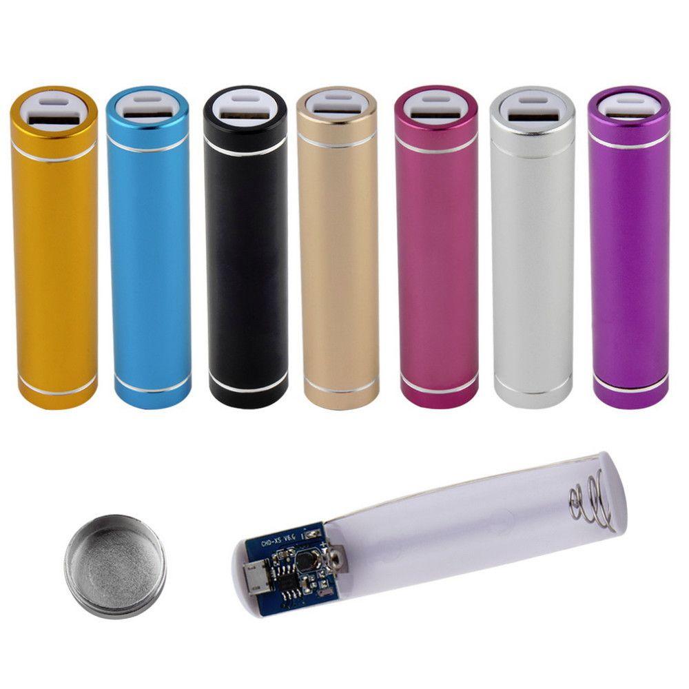 Cylindre en métal Portable USB Mobile Power Bank Chargeur Pack Box Case Batterie Case 1A pour 1 x 18650 DIY sans soudure