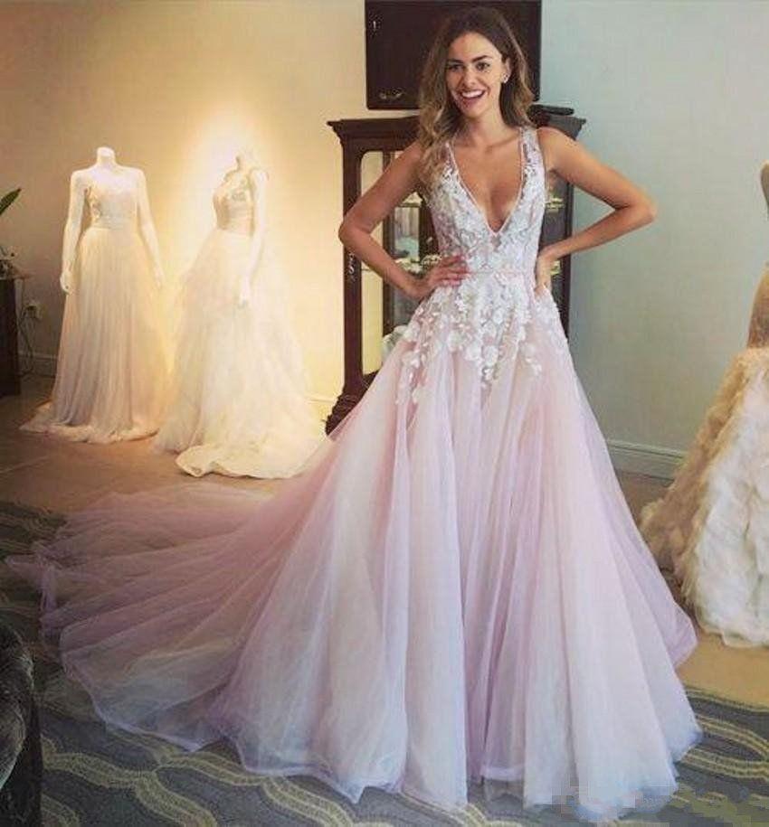 Discount 2017 Blush Pink Beach Wedding Dresses A Line Deep V Neck