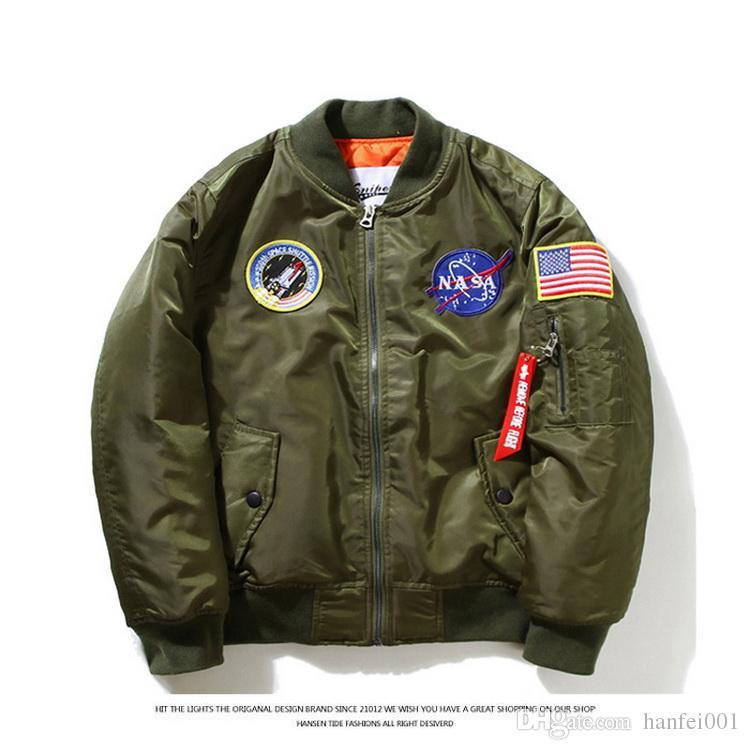 wholesale dealer 17028 7fb60 Giubbotto bomber sottile NASA MA1 Giacca a vento da volo Giubbotto pilota  militare USA Air Force Giacca Kanye West Hip Hop Bomber XS-2XL HFJK002