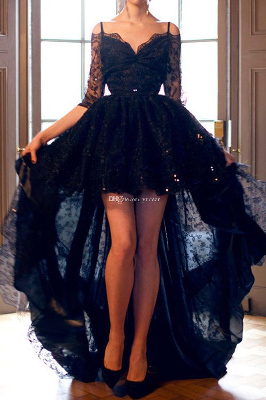 Novo Design 2019 Spaghetti Straps Mulheres Vestidos de Baile 3/4 Mangas Compridas ilusão Hi-Lo Prom Vestido Lace Encantador V-voltar Vestido de Fiesta Barato