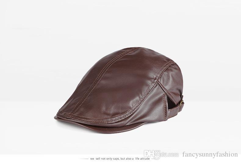 2016 Yeni Moda deri PU Bere ayarlanabilir trendy Beyzbol Şapkası erkek Doruğa kap Beyefendi kap klasik Düz renk şapka Rahat, 5 renkler