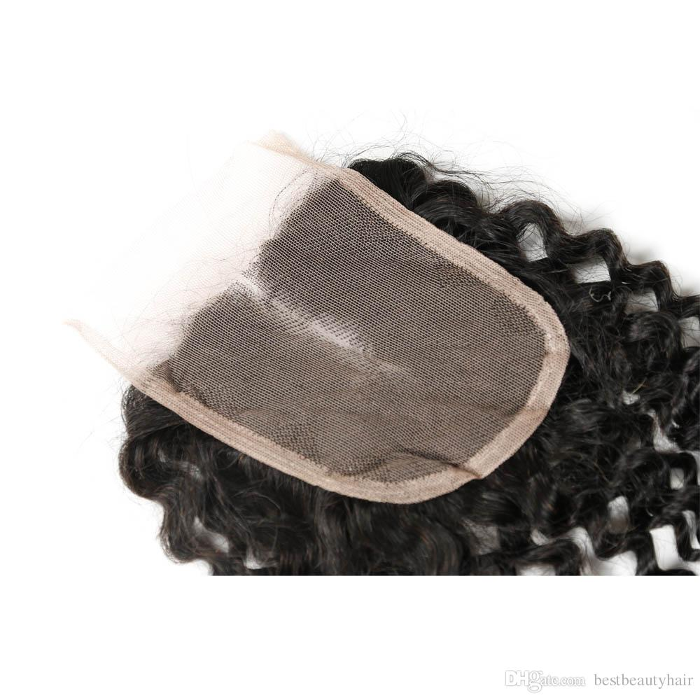 Top Lace Closure + Tramas de pelo rizado Brasileño Kinky Curly Virgin Armadura del pelo humano Extensiones de cabello Profundo rizado 7A Remy Trama humana