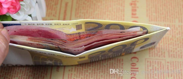 Exportações de Moda Novo design dos homens carteiras diferente euro padrão dólar impressão chic bolsa carteira para homens e estudantes