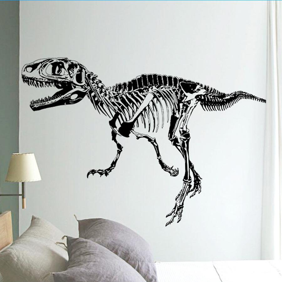 black t rex dinosaur skeleton wall stick diy wall stickers living 9