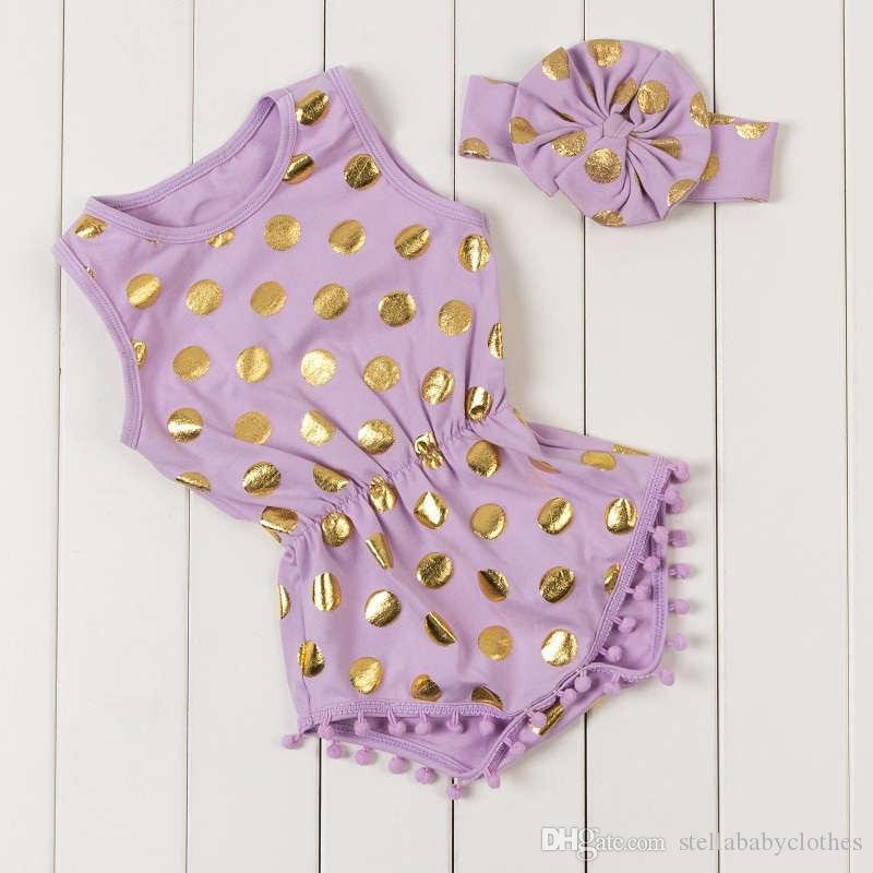 Girls Gold Dots Pattern Rompers Summer Baby Girl Playsuit Sleeveless Girls Toddler Outfit With Headband