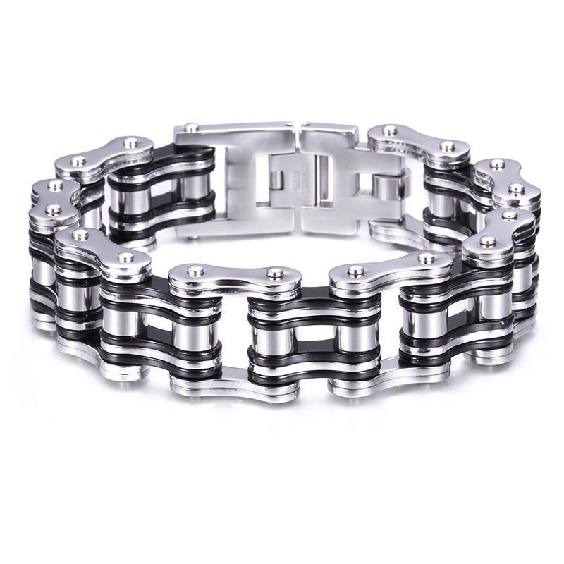 2016 Date En Acier Inoxydable Motard Chaîne De Moto Gothique Mens Fête Des Pères Cadeau Bracelet Argent Noir Énorme Lourd Fine Cadeau