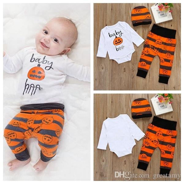 bf01efd4437 INS Toddler Boys Halloween Outfits Cartoon Pumpkin Printing Hat+Rompers+Pants  Cotton Baby Outfits Kids Clothes Infant Jumpersuit UK 2019 From Greatamy