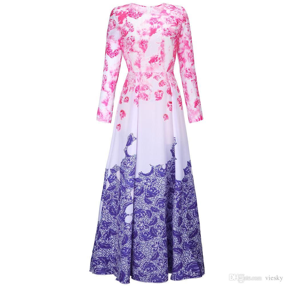 Bohemian Print Long Chiffon Dress 2016 Vestidos Noche Sexys Robe De ...