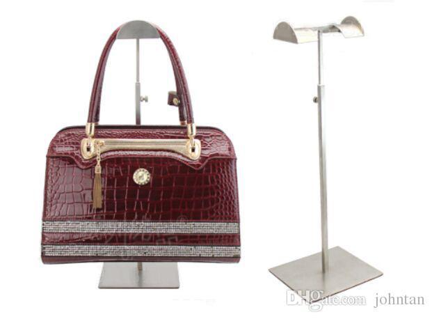 Fashion matte stainless steel metal bags display rack adjustable removable on both sides of the handbag display stand holder