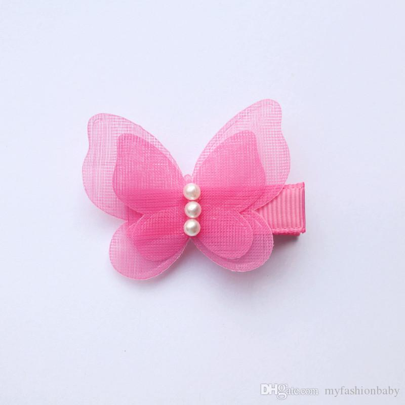Animals Shape Small Size Hair Clips Lovely Butterfly Kids Hairpin with Beads Girls Barrettes Double Level Autumn Style