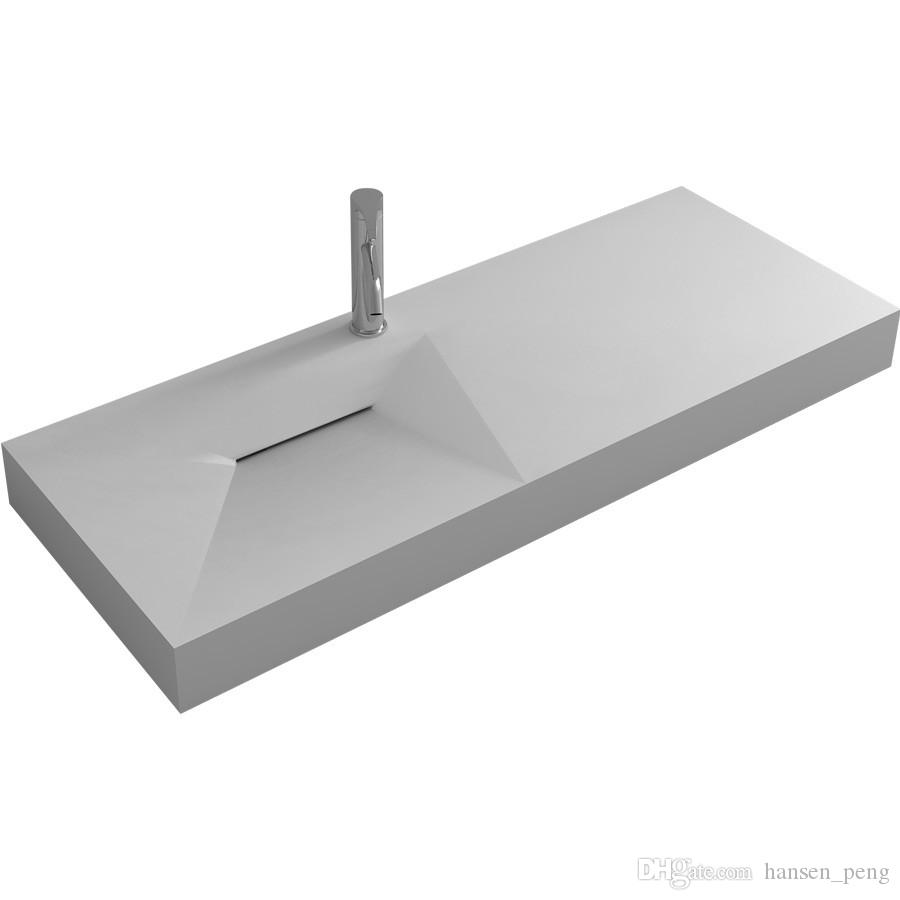 1200mm Bathroom Solid Surface Stone Wall Mounted Sink Fashionable Cloakroom Acrylic Resin Matt Or Glossy Washbasin RS38428