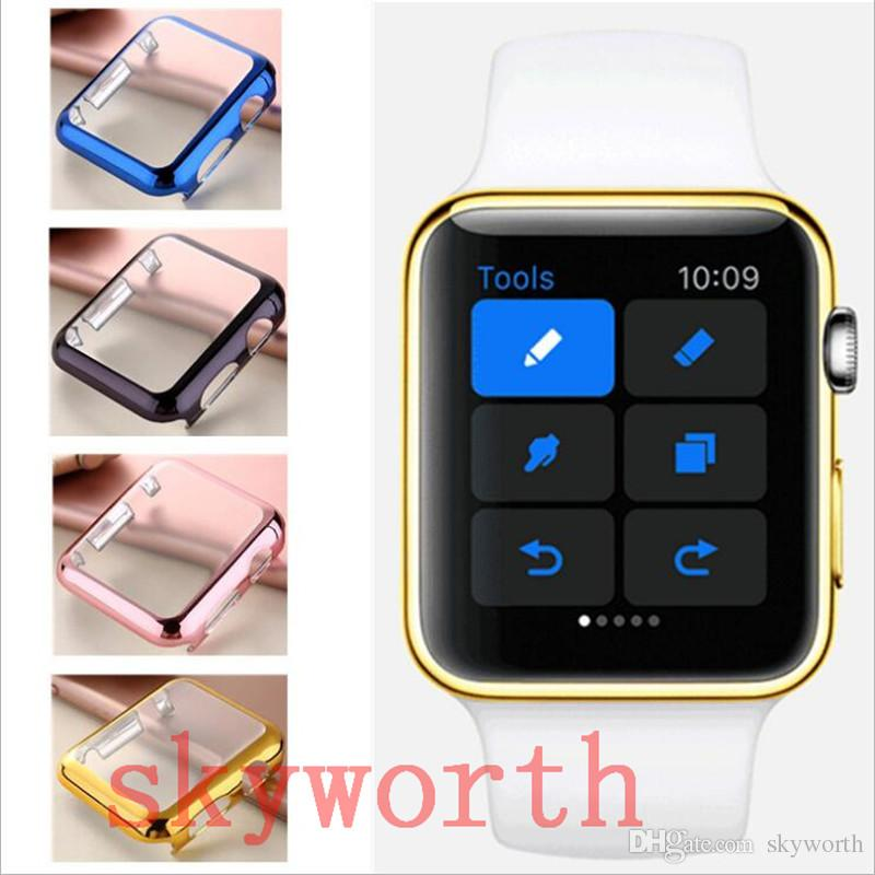 new style 18a31 3f856 38mm 42mm 44mm 40mm New Ultra Thin Slim Plating Hard PC Bumper Cover Case  Skin Screen Protector Film For Apple Watch 5 Colors