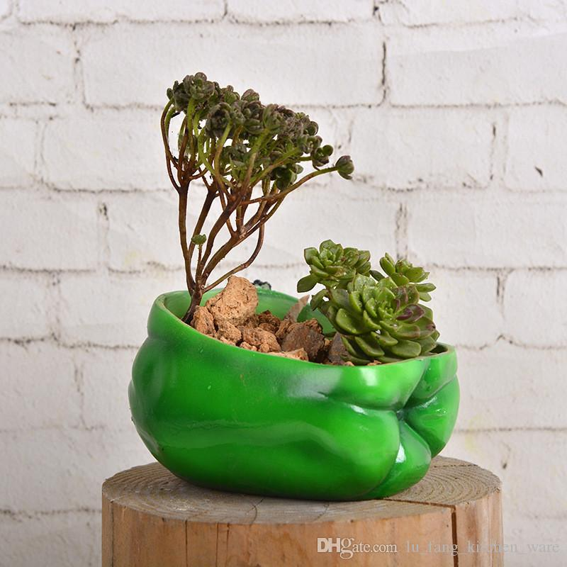 succulents pots Decorative Creative Resin Artificial green pepper flower pots plant succulent pots put desk home decoration Crafts wholesale