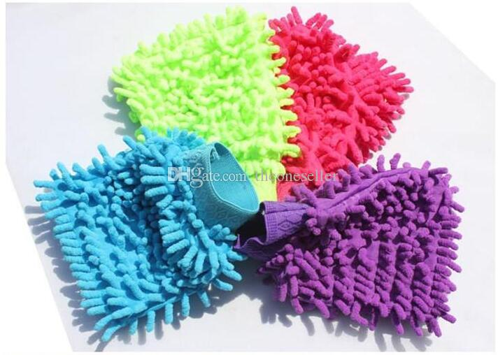 HHA123 Car Hand Soft Cleaning Towel Microfiber Chenille Washing Gloves Coral Fleece Anthozoan Car Sponge Wash Cloth Car Care Cleaning