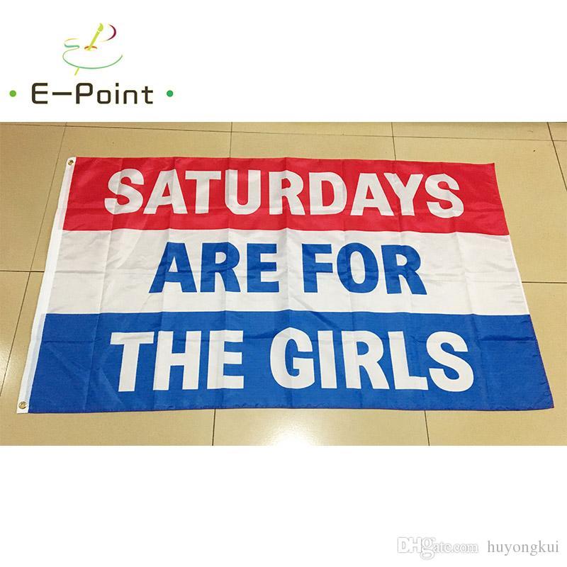 Los sábados son para niños niñas 3 * 5 pies 90 cm * 150 cm bandera de poliéster decoración de la bandera de la bandera del jardín de su casa regalos festivos