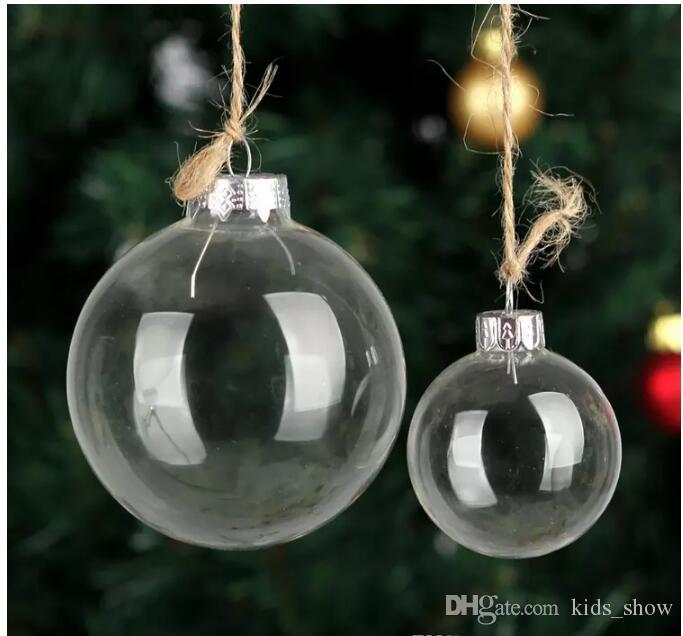 Düğün Bauble Süsler Noel Noel Cam Toplar Dekorasyon 80mm Noel Toplar Temizle Cam Düğün ballsChristmas Ağacı Cam Toplar