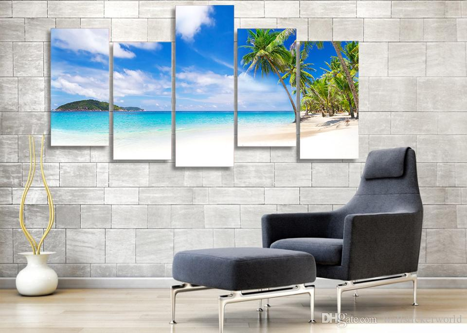 Framed Printed Seascape summer beach sea shore Painting Canvas Print room decor print poster picture canvas /ny-4332