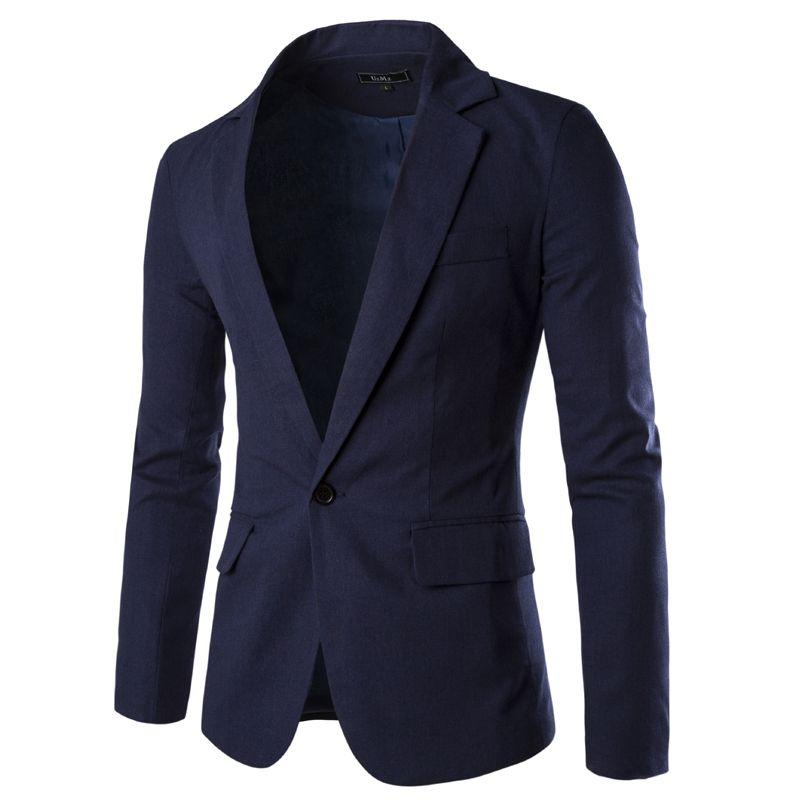 Fashion Brand Designer Casual Suits Men Cotton Lapel Neck Men's Suits Knitted Jacket Slim Man Blazer