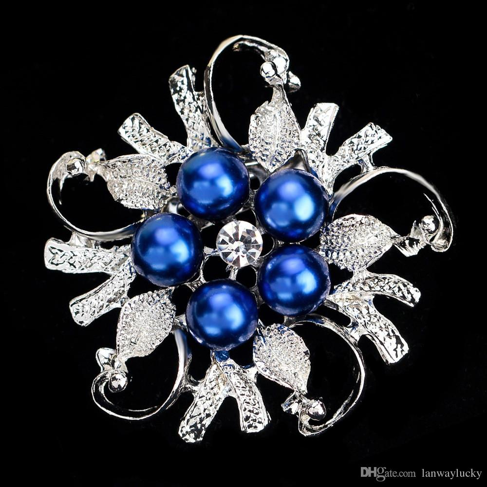 Fashion Jewelry Imitation Pearl Floral Alloy Crystal Rhinestone Brooches Pin Bouquet Bridal Flower Wedding Gift For Women Costume Broach DHL