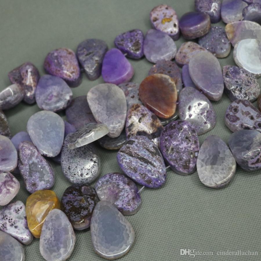 15.5inch Natural Purple Druzy Agate Slab Gemstone Beads, Energy Reiki Gems Women Slice Jewelry Necklace Pendant Drusy Druzy Waterdrop Shape