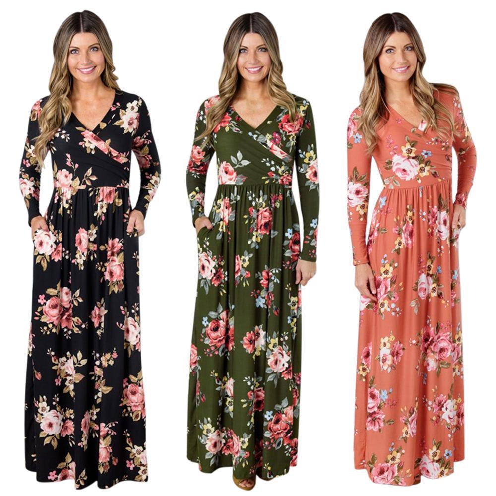 79456ce9d4 Autumn Women Casual Beach Floral Maxi Dresses Lady Microfiber Criss Cross V  Neck Long Sleeve Peplum Waist Full Skirted Dress Summer Dress Women Black  And ...