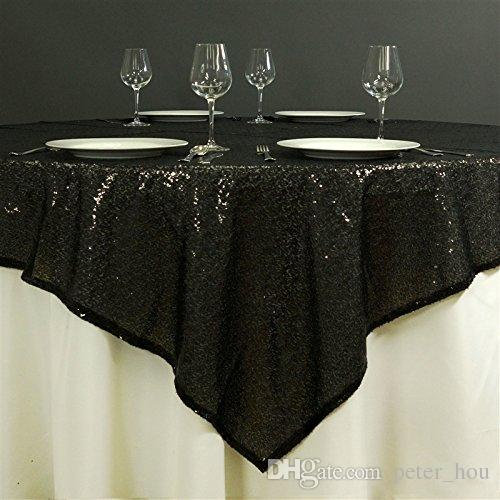Cheap 72 Inch Round Black Sequin Tablecloth Or Fabric Tablecloths