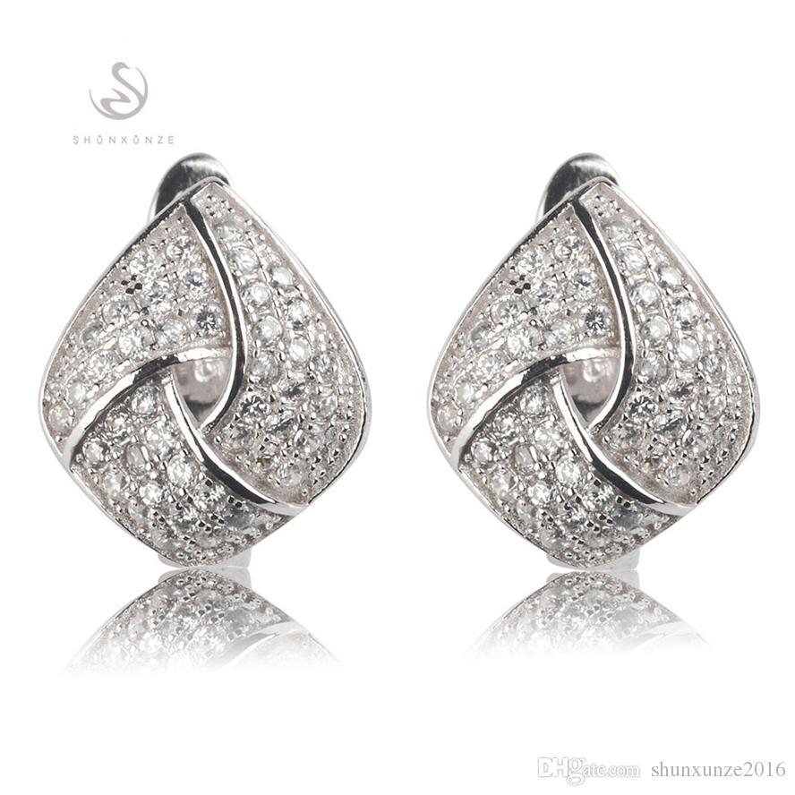 Kupfer rhodiniert Süßes Herz-Set Ring / Ohrring / Anhänger Weißer Zirkonia Edles Großzügiges MNsz # 6 7 8 9 Empfehlen Sie ein neues Muster