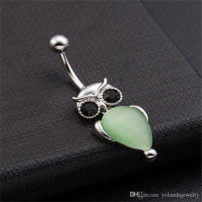 Disegno dolce rosa / verde / Champange Owl Belly Button Ring monili del corpo pancia ombelico anello piercing pancia sexy percing le donne