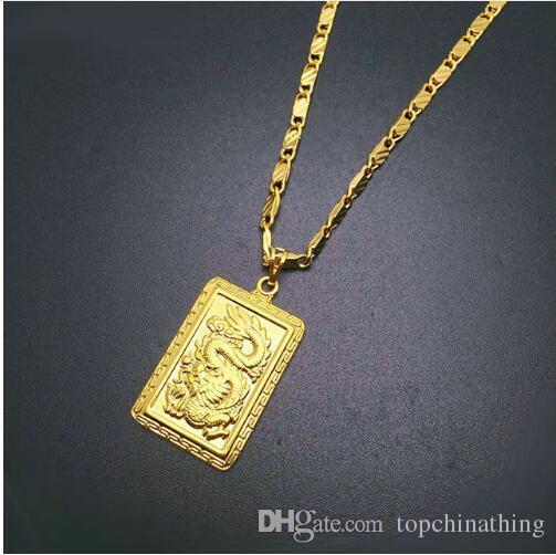 Wholesale 2017 Fashion Real 24k Gold Plating Necklace Pendant Man
