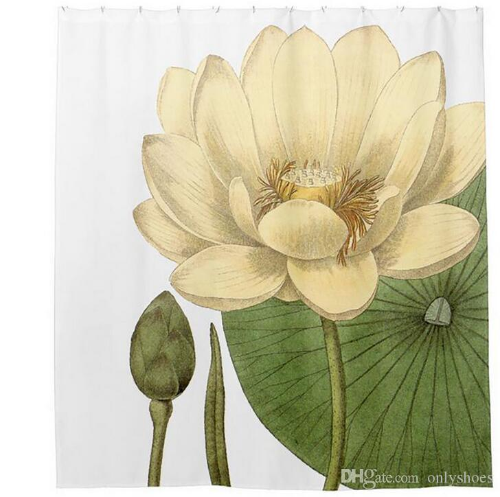 Customs 36/48/60/66/72/80 W x 72 H Inch Shower Curtain Lotus Grace Waterproof Polyester Fabric Diy Shower Curtain