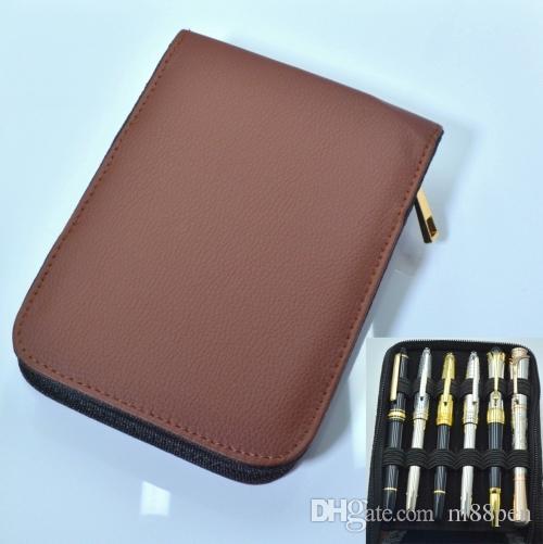 Sacs de crayon de haute capacité en cuir à fermeture à glissière de haute qualité pour stylo à bille / stylo fontain / stylo fonctionnel