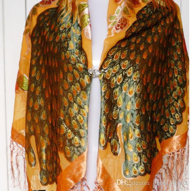 110cm Square Velvet silk feeling Nylon rayon peacock Burn Out Duster Opera Shawl Scarf Wrap women girl BIG #4047